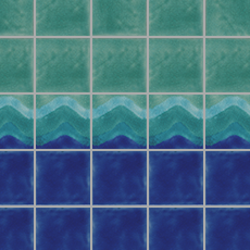 Water Colours Wave with Ultramarine 1 and Celadon 6