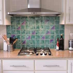 Persian Glazes Moss with Geo Moss Lilac for kitchen backsplash