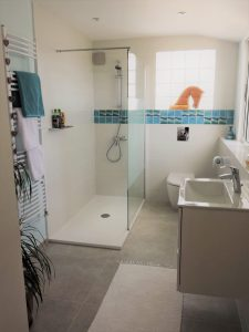 The new bathroom with feature Ripple tiles